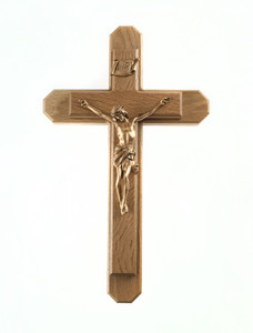 Pastoral Sick Call Set Walnut Wood with Gold Toned Pewter Corpus Crucifix, 15 Inch