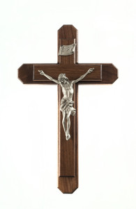 Pastoral Sick Call Set Walnut Wood with Metal Inlay Cross and Pewter Corpus, 15 Inch