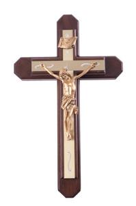 Pastoral Sick Call Set Walnut Wood with Gold Tone Metallic Inlay Cross Crucifix, 15 Inch