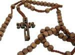 "Wood 8mm Square Prayer Bead 18 1/2"" Cord Rosary with 2"" Jesus Cross"