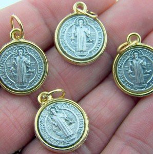 Mens Womens Silver Tone Gold Tone Set Bulk Lot 4 Catholic Two Tone Charm Medal Saint Benedict
