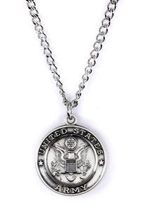 Sterling Silver Saint Christopher Protect Me Military Medal, 3/4 Inch (US Army)