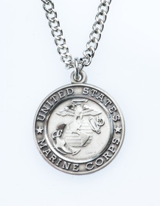 Sterling Silver Saint Christopher Protect Me Military Medal, 3/4 Inch (US Marine Corps)
