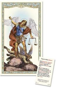 Catholic Patron Saint St Michael Laminated Religious Christian Prayer Holy Card