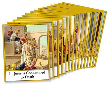 "Religious Teaching Tool Stations of the Cross 10"" Cardstock Learning School Classroom Set"