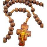 Mens Womens Catholic Gift 8mm Wood Bead Saint St Francis of Assisi San Damiano