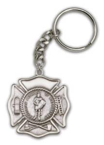 Antique Silver St. Florian Keychain Patron Saint of Patronage