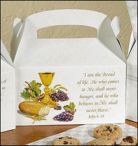 """First Holy Communion John 6:35 Bible Scripture 6"""" Cardboard Party Favor Small Gift Goodie Treat Keepsake Box"""