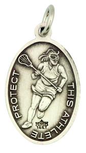 Saint St Sebastian 7/8 Inch Sterling Silver Medal for Girl Lacrosse Athlete
