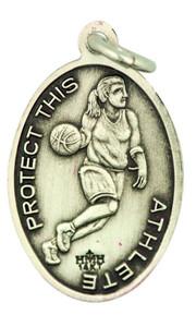 Saint St Sebastian 7/8 Inch Sterling Silver Medal for Girl Basketball Athlete