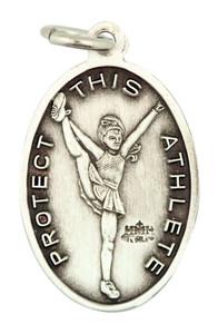 Saint St Sebastian 7/8 Inch Sterling Silver Medal for Girl Cheerleading Athlete