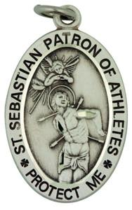 Saint St Sebastian 1 1/16 Inch Sterling Silver Medal for Baseball Athlete