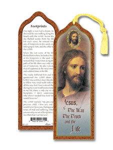 Laminated Footprints Bookmark with Gold Foil Stamping and Enameled Medal, Pack of 10