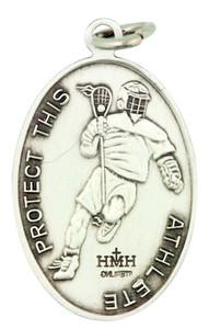 Saint St Sebastian 1 1/16 Inch Sterling Silver Medal for Lacrosse Athlete