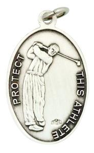 Saint St Sebastian 1 1/16 Inch Sterling Silver Medal for Golf Athlete
