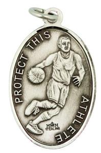 Saint St Sebastian 1 1/16 Inch Sterling Silver Medal for Basketball Athlete