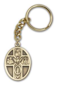 Antique Gold 5-Way / Holy Spirit Keychain