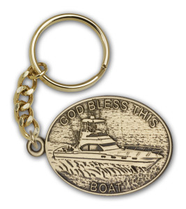 Antique Gold God Bless This Boat Keychain