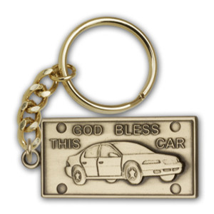 Antique Gold God Bless This Car Keychain