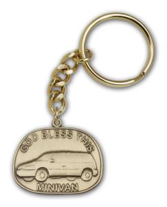 Antique Gold God Bless This Mini-Van Keychain