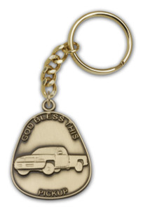 Antique Gold God Bless This Pickup Keychain