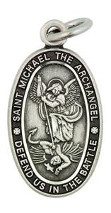 Archangel Saint Michael Defend Us in The Battle 13/16 Inch Sterling Silver Medal