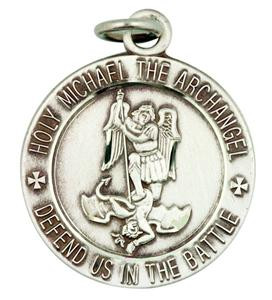 Holy Michael the Archangel Defend Us in The Battle 1 Inch Sterling Silver Medal