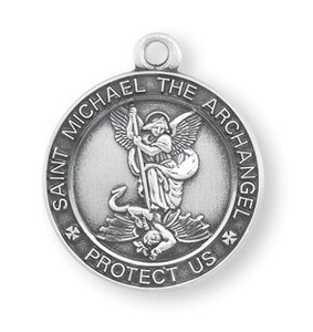 Oxidized silver patron of police saint st michael pendant with chain saint michael the archangel protect us medal 1316 inch sterling silver pendant aloadofball Gallery