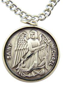 "Archangel Saint St Michael Slaying Dragon Medal 7/8"" Sterling Silver Pendant"