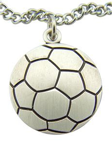 """Jesus Christ Protect This Athlete 1"""" Sterling Silver Medal Soccer Ball Pendant"""