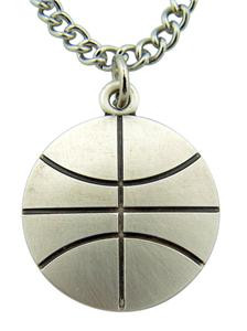 """Jesus Christ Protect This Athlete 1"""" Sterling Silver Medal Basketbal Pendant"""