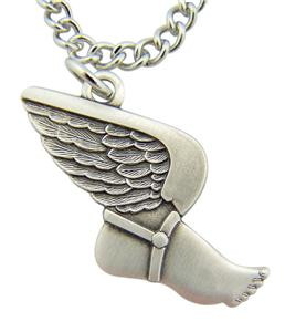 """Jesus Christ Protect This Athlete 1"""" Sterling Silver Medal Track & Field Pendant"""