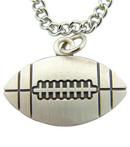 """Jesus Christ Protect This Athlete 3/4"""" Sterling Silver Medal Football Pendant"""