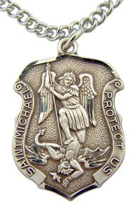 """Patron of Police & Military Saint Michael Pendant 1 3/16"""" Sterling Silver Medal"""