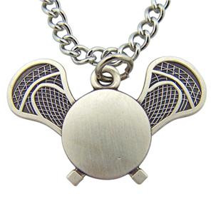 """Jesus Christ Protect This Athlete 13/16"""" Sterling Silver Medal Lacrosse Pendant"""