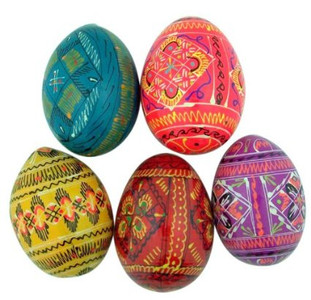 Authentic Set of 5 Wooden Easter Eggs, Ukrainian Wooden Easter Eggs Pysanky