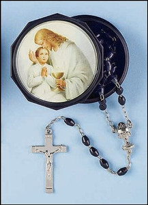 Black Prayer Bead Rosary in Holy First Communion Case