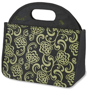 """Faith Script 10"""" Polyester Shell Vinyl Lined Tote"""
