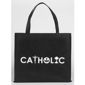 "Christian Symbols 13"" Black Nylon Catholic Tote Bag"