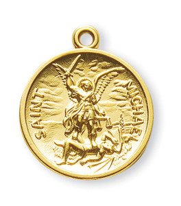 Gold over Sterling Silver Circular Shaped St. Michael Medal