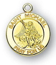 Gold over Sterling Silver Round Shaped St. Michael Medal