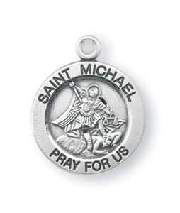 Sterling Silver Round Shaped St. Michael Medal
