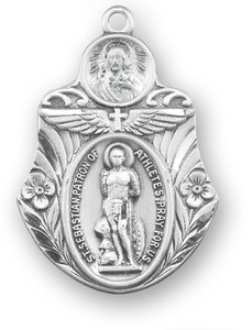 Sterling Silver Badge Shaped St. Sebastian Medal
