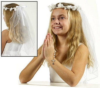 Floral Crown Veil with Bow