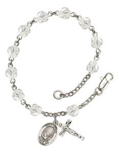 April Birthstone Bead Rosary Bracelet with Holy Spirit Charm, 7 1/2 Inch