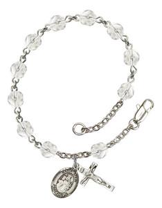 April Birthstone Bead Rosary Bracelet with Maria Stein Charm, 7 1/2 Inch