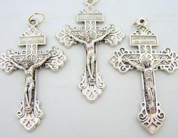 "Lot 3 Catholic Rosary Part Crucifix Silver Tone Cross 2"" Pardon Behold This Heart"