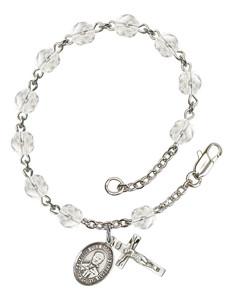 April Birthstone Bead Rosary Bracelet with Blessed Pier Giorgio Frassati Charm, 7 1/2 Inch