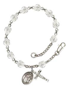 April Birthstone Bead Rosary Bracelet with Blessed Caroline Gerhardinger Charm, 7 1/2 Inch