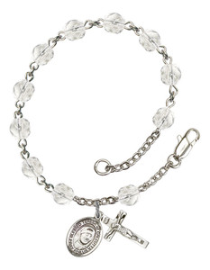 April Birthstone Bead Rosary Bracelet with Blessed Teresa of Calcutta Charm, 7 1/2 Inch